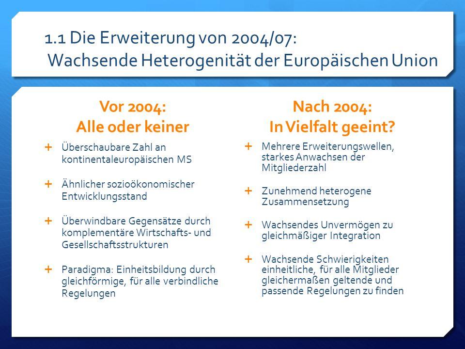 """1.2 Folgen der Erweiterung von 2004/07: Szenarien Um 2004: Blockade-Szenario  Erweiterung als """"tough nut to swallow  Race to the bottom  Durch institutionelle Reformen nicht lösbare Blockaden des Politikprozesses  Gefahr einer stärker fragmentierten und weniger effektiven EU Ab ca."""