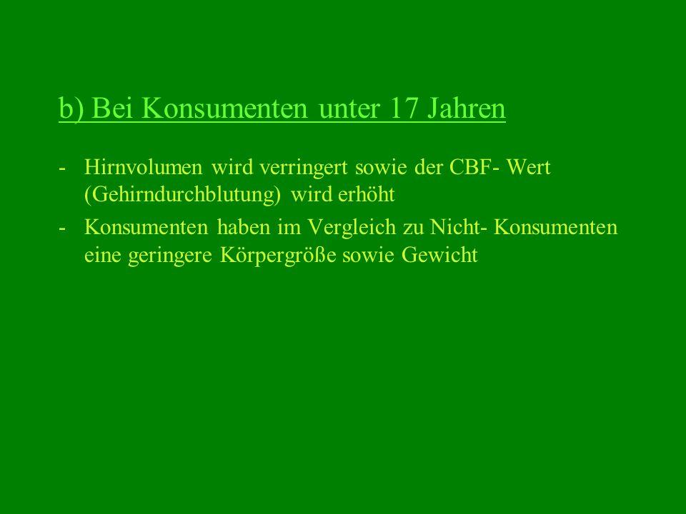 b) Bei Konsumenten unter 17 Jahren -Hirnvolumen wird verringert sowie der CBF- Wert (Gehirndurchblutung) wird erhöht -Konsumenten haben im Vergleich z