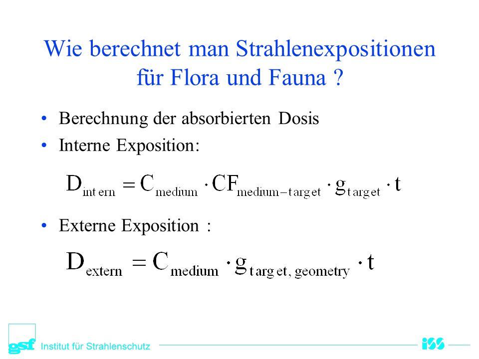 Wie berechnet man Strahlenexpositionen für Flora und Fauna ? Berechnung der absorbierten Dosis Interne Exposition: Externe Exposition :