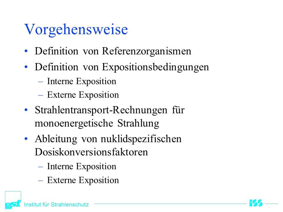 Vorgehensweise Definition von Referenzorganismen Definition von Expositionsbedingungen –Interne Exposition –Externe Exposition Strahlentransport-Rechn