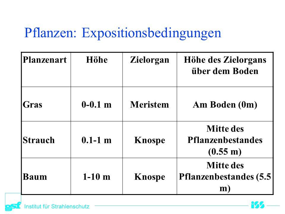Pflanzen: Expositionsbedingungen PlanzenartHöheZielorganHöhe des Zielorgans über dem Boden Gras0-0.1 mMeristemAm Boden (0m) Strauch0.1-1 mKnospe Mitte