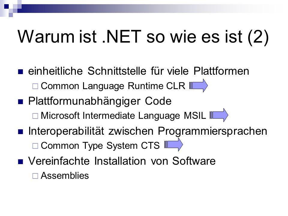 Warum ist.NET so wie es ist (2) einheitliche Schnittstelle für viele Plattformen  Common Language Runtime CLR Plattformunabhängiger Code  Microsoft Intermediate Language MSIL Interoperabilität zwischen Programmiersprachen  Common Type System CTS Vereinfachte Installation von Software  Assemblies