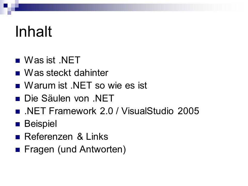 Inhalt Was ist.NET Was steckt dahinter Warum ist.NET so wie es ist Die Säulen von.NET.NET Framework 2.0 / VisualStudio 2005 Beispiel Referenzen & Links Fragen (und Antworten)