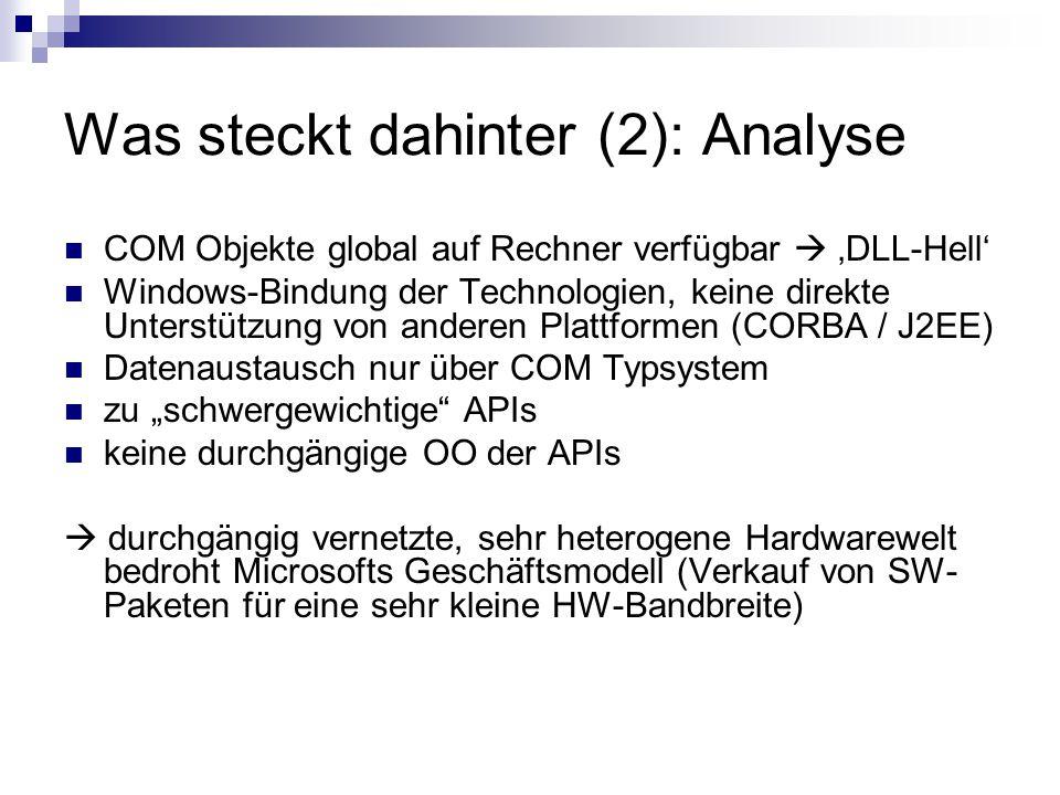 """Was steckt dahinter (2): Analyse COM Objekte global auf Rechner verfügbar  'DLL-Hell' Windows-Bindung der Technologien, keine direkte Unterstützung von anderen Plattformen (CORBA / J2EE) Datenaustausch nur über COM Typsystem zu """"schwergewichtige APIs keine durchgängige OO der APIs  durchgängig vernetzte, sehr heterogene Hardwarewelt bedroht Microsofts Geschäftsmodell (Verkauf von SW- Paketen für eine sehr kleine HW-Bandbreite)"""