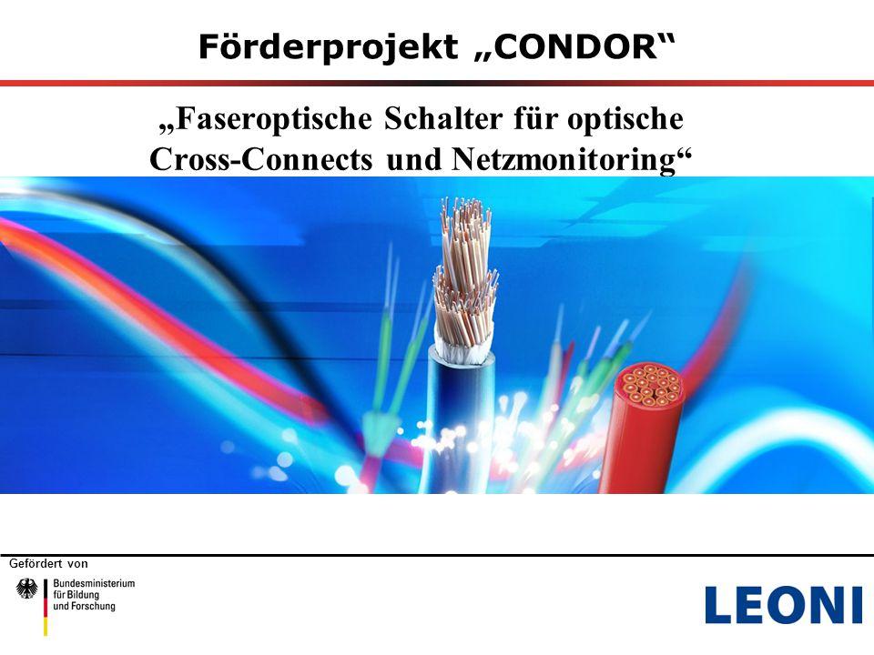 """Gefördert von Förderprojekt """"CONDOR """"Faseroptische Schalter für optische Cross-Connects und Netzmonitoring"""