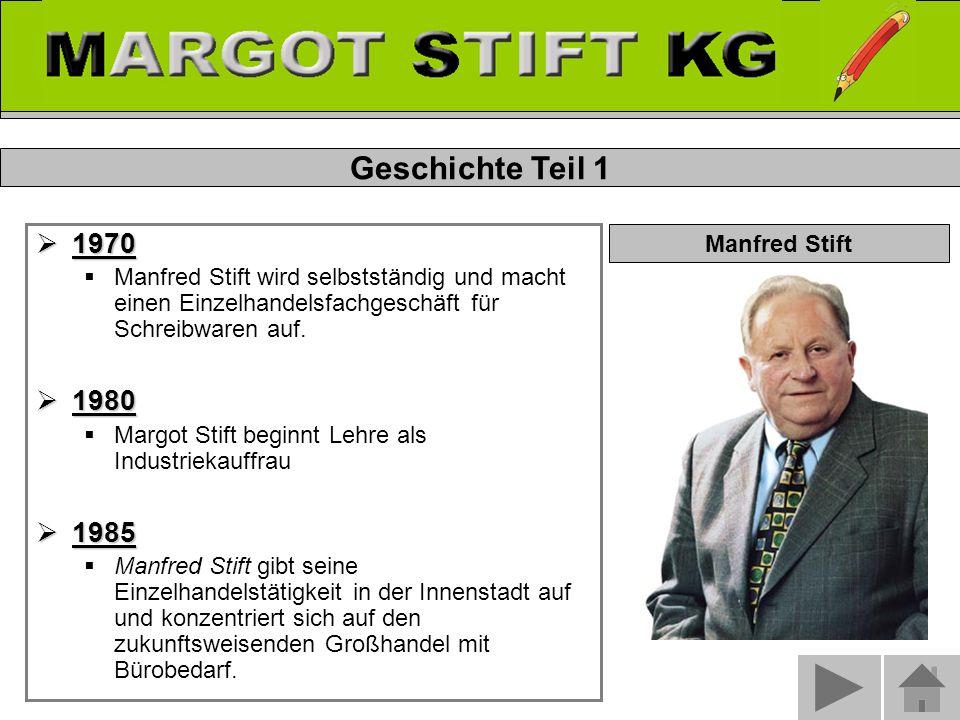  1970  Manfred Stift wird selbstständig und macht einen Einzelhandelsfachgeschäft für Schreibwaren auf.
