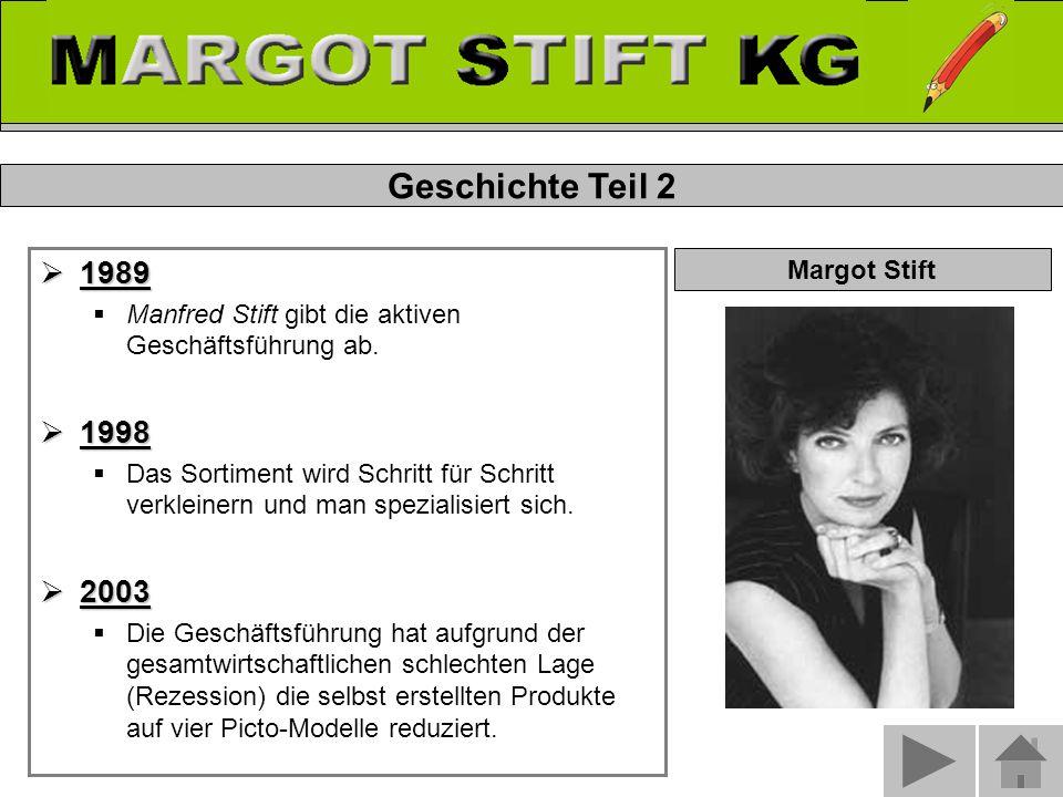 Geschichte Teil 2  1989  Manfred Stift gibt die aktiven Geschäftsführung ab.