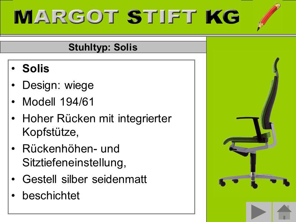 Solis Design: wiege Modell 194/61 Hoher Rücken mit integrierter Kopfstütze, Rückenhöhen- und Sitztiefeneinstellung, Gestell silber seidenmatt beschichtet Stuhltyp: Solis