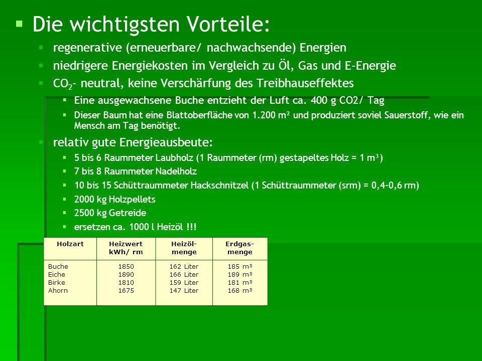 HolzartHeizwert kWh/ rm Heizöl- menge Erdgas- menge Buche Eiche Birke Ahorn 1850 1890 1810 1675 162 Liter 166 Liter 159 Liter 147 Liter 185 m³ 189 m³