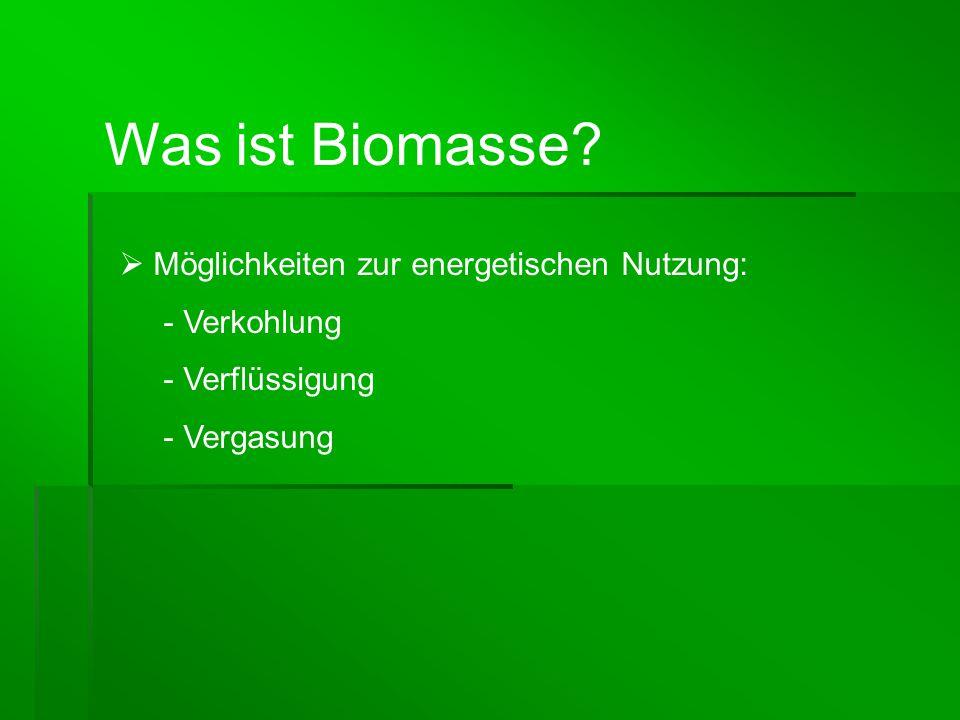  Ältester Energieträger der Menschheit  Moderne Nutzung: - Stückholz, Holzpellets, Holzbrikett, Hackschnitzel, Stroh und Strohpellets.