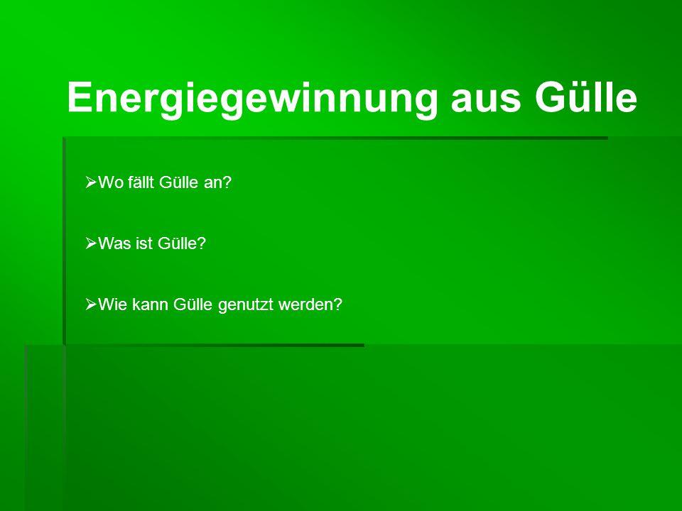 Energiegewinnung aus Gülle  Wo fällt Gülle an?  Was ist Gülle?  Wie kann Gülle genutzt werden?