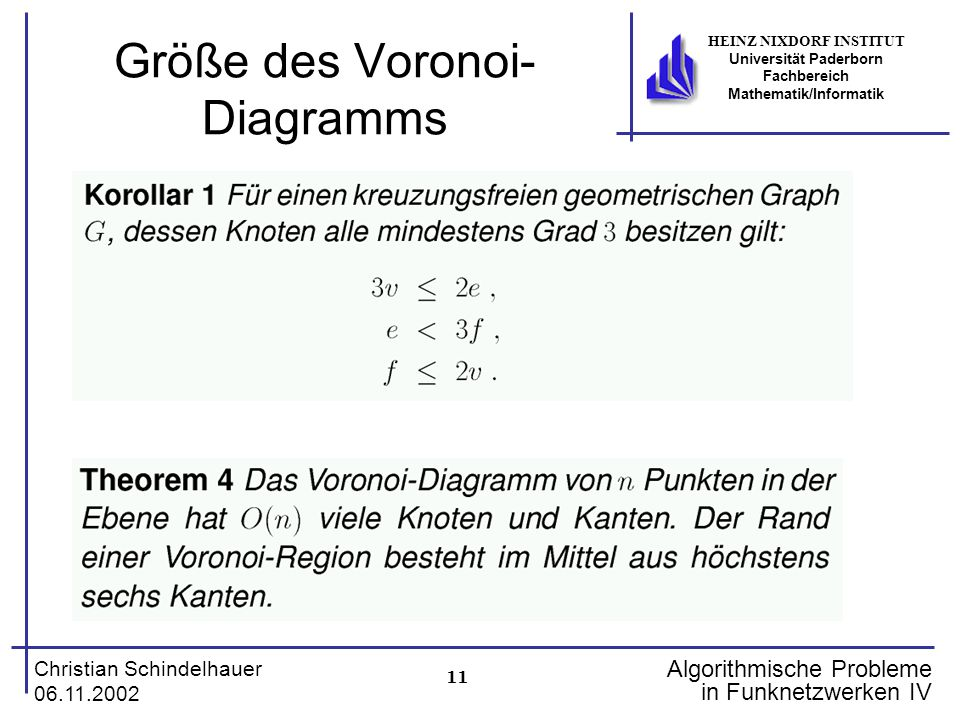 11 Christian Schindelhauer 06.11.2002 HEINZ NIXDORF INSTITUT Universität Paderborn Fachbereich Mathematik/Informatik Algorithmische Probleme in Funkne