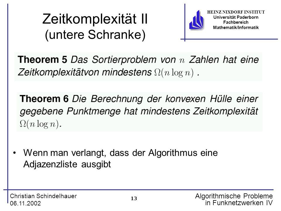 13 Christian Schindelhauer 06.11.2002 HEINZ NIXDORF INSTITUT Universität Paderborn Fachbereich Mathematik/Informatik Algorithmische Probleme in Funkne