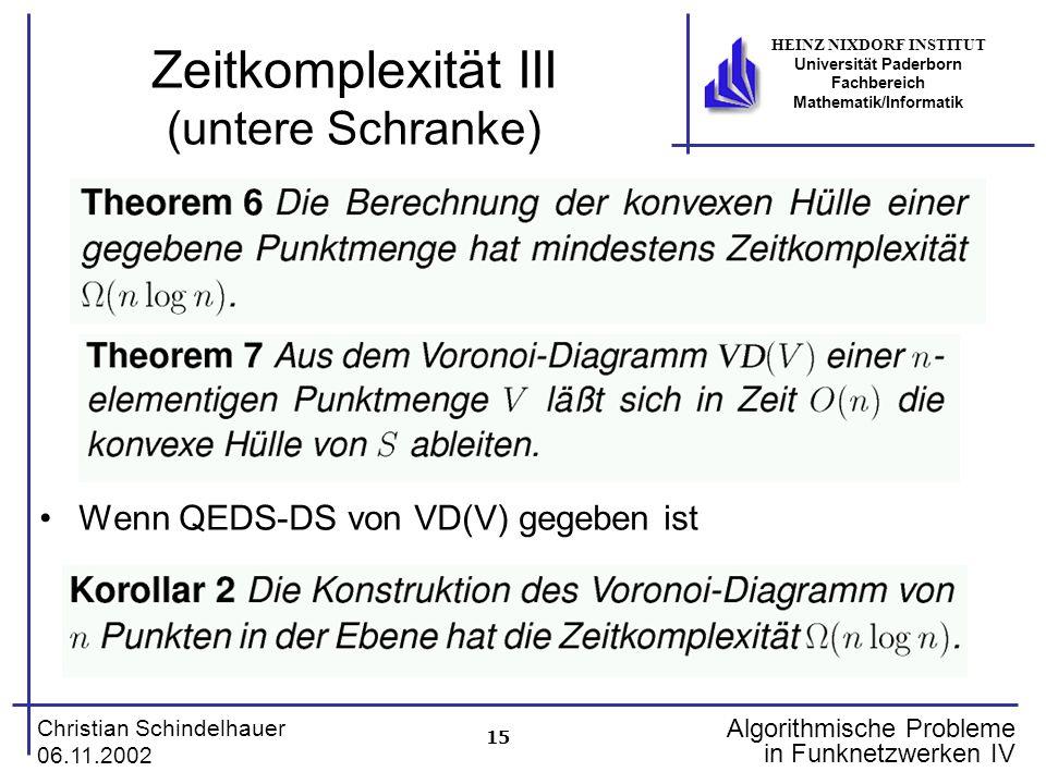 15 Christian Schindelhauer 06.11.2002 HEINZ NIXDORF INSTITUT Universität Paderborn Fachbereich Mathematik/Informatik Algorithmische Probleme in Funkne