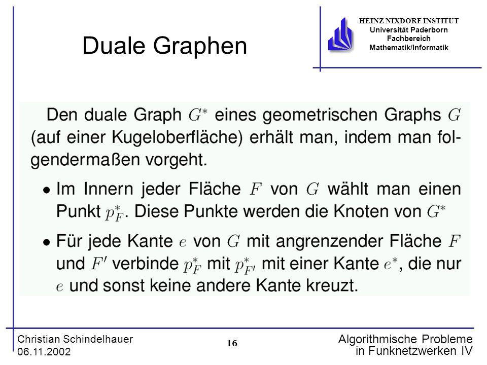 16 Christian Schindelhauer 06.11.2002 HEINZ NIXDORF INSTITUT Universität Paderborn Fachbereich Mathematik/Informatik Algorithmische Probleme in Funkne