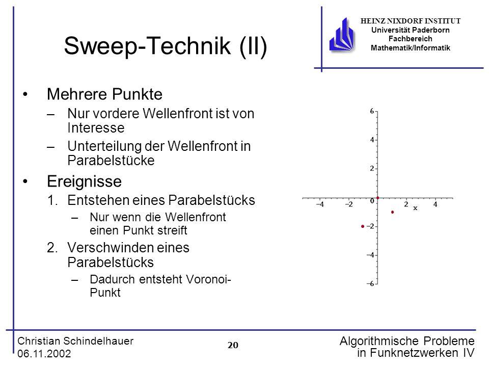 20 Christian Schindelhauer 06.11.2002 HEINZ NIXDORF INSTITUT Universität Paderborn Fachbereich Mathematik/Informatik Algorithmische Probleme in Funkne