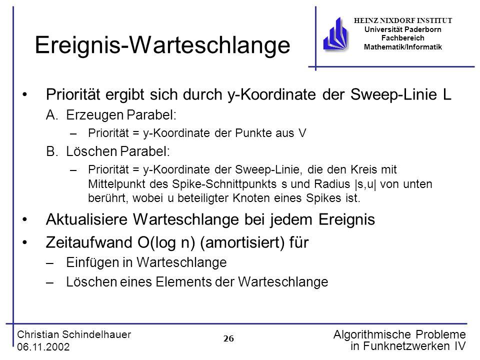 26 Christian Schindelhauer 06.11.2002 HEINZ NIXDORF INSTITUT Universität Paderborn Fachbereich Mathematik/Informatik Algorithmische Probleme in Funkne