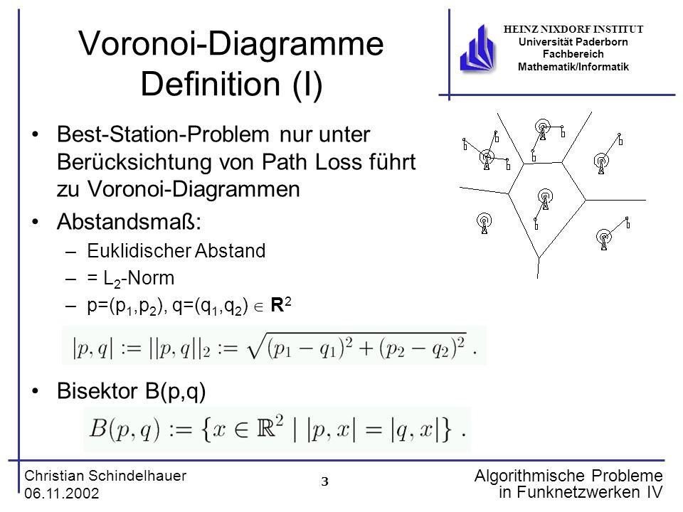 3 Christian Schindelhauer 06.11.2002 HEINZ NIXDORF INSTITUT Universität Paderborn Fachbereich Mathematik/Informatik Algorithmische Probleme in Funknet