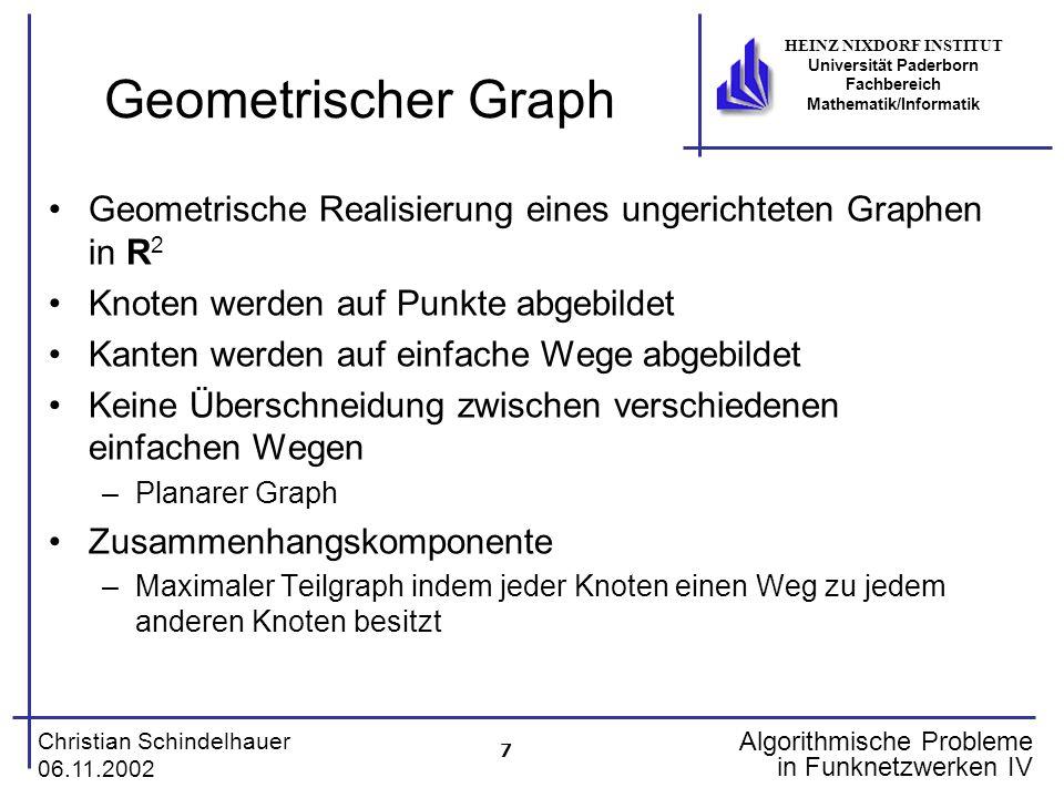 7 Christian Schindelhauer 06.11.2002 HEINZ NIXDORF INSTITUT Universität Paderborn Fachbereich Mathematik/Informatik Algorithmische Probleme in Funknet