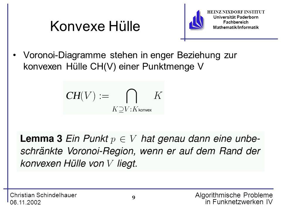 9 Christian Schindelhauer 06.11.2002 HEINZ NIXDORF INSTITUT Universität Paderborn Fachbereich Mathematik/Informatik Algorithmische Probleme in Funknet