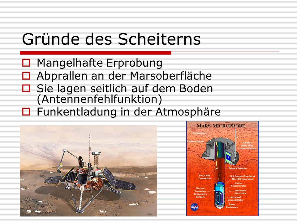Gründe des Scheiterns  Mangelhafte Erprobung  Abprallen an der Marsoberfläche  Sie lagen seitlich auf dem Boden (Antennenfehlfunktion)  Funkentlad
