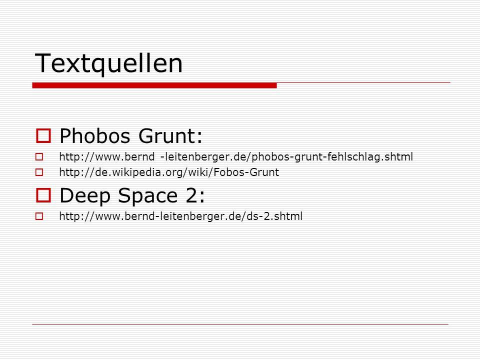 Textquellen  Phobos Grunt:  http://www.bernd -leitenberger.de/phobos-grunt-fehlschlag.shtml  http://de.wikipedia.org/wiki/Fobos-Grunt  Deep Space