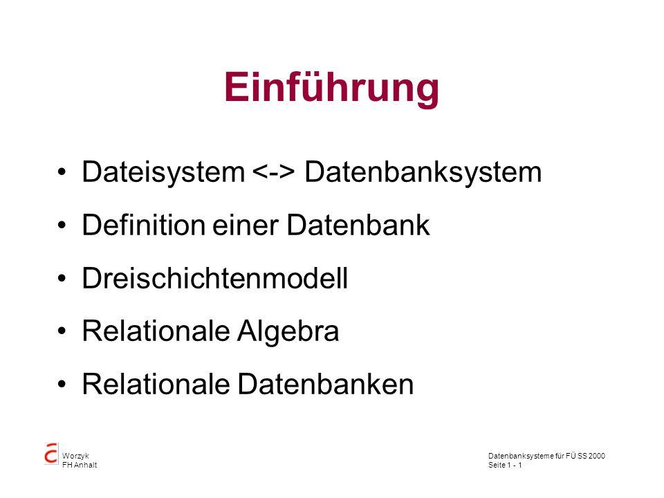 Datenbanksysteme für FÜ SS 2000 Seite 1 - 1 Worzyk FH Anhalt Einführung Dateisystem Datenbanksystem Definition einer Datenbank Dreischichtenmodell Relationale Algebra Relationale Datenbanken