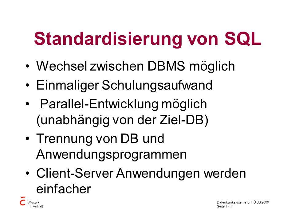 Datenbanksysteme für FÜ SS 2000 Seite 1 - 11 Worzyk FH Anhalt Standardisierung von SQL Wechsel zwischen DBMS möglich Einmaliger Schulungsaufwand Parallel-Entwicklung möglich (unabhängig von der Ziel-DB) Trennung von DB und Anwendungsprogrammen Client-Server Anwendungen werden einfacher