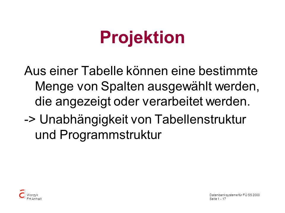 Datenbanksysteme für FÜ SS 2000 Seite 1 - 17 Worzyk FH Anhalt Projektion Aus einer Tabelle können eine bestimmte Menge von Spalten ausgewählt werden, die angezeigt oder verarbeitet werden.