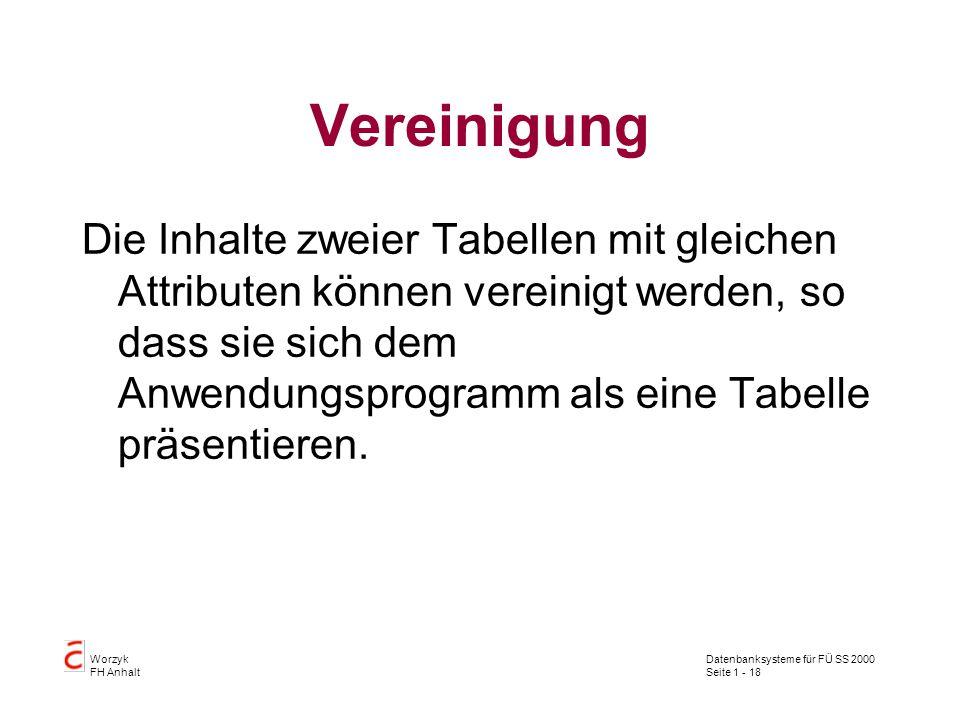 Datenbanksysteme für FÜ SS 2000 Seite 1 - 18 Worzyk FH Anhalt Vereinigung Die Inhalte zweier Tabellen mit gleichen Attributen können vereinigt werden, so dass sie sich dem Anwendungsprogramm als eine Tabelle präsentieren.