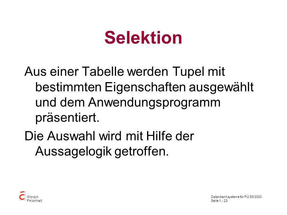 Datenbanksysteme für FÜ SS 2000 Seite 1 - 23 Worzyk FH Anhalt Selektion Aus einer Tabelle werden Tupel mit bestimmten Eigenschaften ausgewählt und dem Anwendungsprogramm präsentiert.