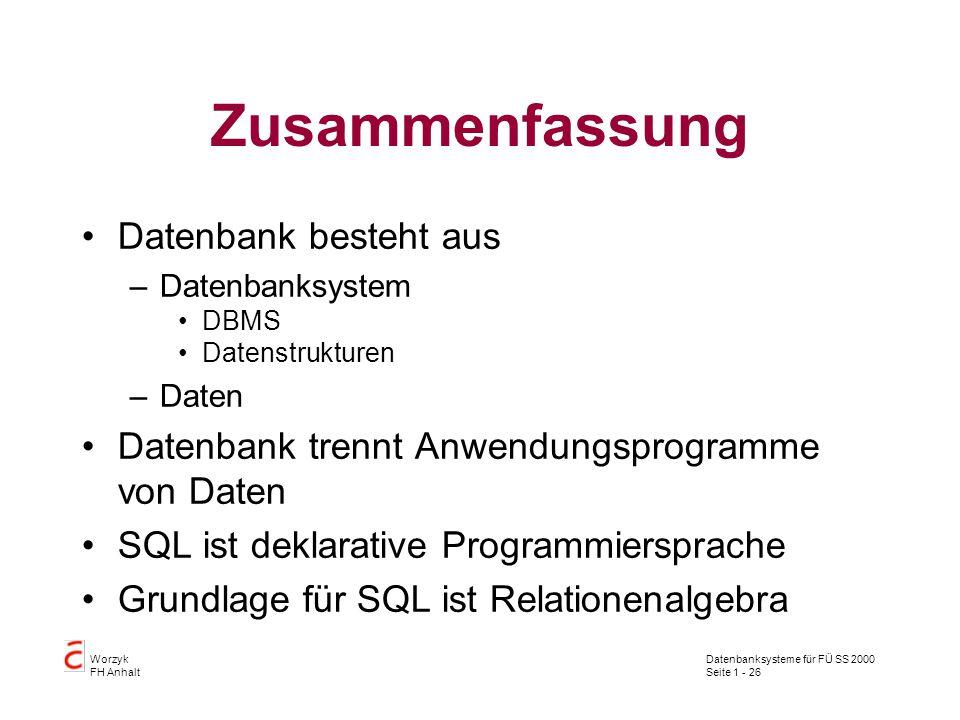 Datenbanksysteme für FÜ SS 2000 Seite 1 - 26 Worzyk FH Anhalt Zusammenfassung Datenbank besteht aus –Datenbanksystem DBMS Datenstrukturen –Daten Datenbank trennt Anwendungsprogramme von Daten SQL ist deklarative Programmiersprache Grundlage für SQL ist Relationenalgebra
