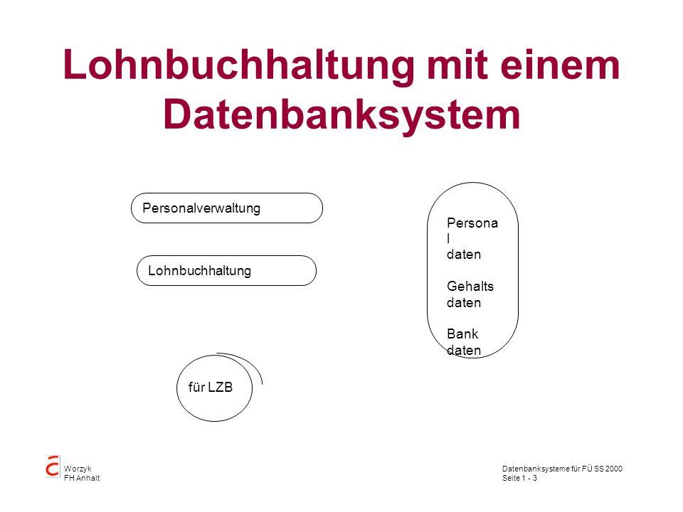 Datenbanksysteme für FÜ SS 2000 Seite 1 - 3 Worzyk FH Anhalt Lohnbuchhaltung mit einem Datenbanksystem Persona l daten Gehalts daten Bank daten Lohnbuchhaltung Personalverwaltung für LZB