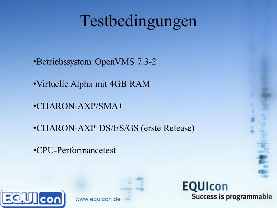 www.equicon.de Testbedingungen Betriebssystem OpenVMS 7.3-2 Virtuelle Alpha mit 4GB RAM CHARON-AXP/SMA+ CHARON-AXP DS/ES/GS (erste Release) CPU-Performancetest