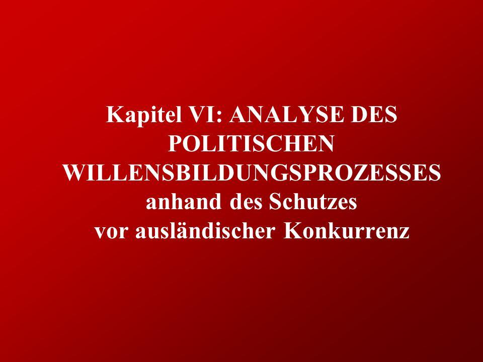 Kapitel VI: ANALYSE DES POLITISCHEN WILLENSBILDUNGSPROZESSES anhand des Schutzes vor ausländischer Konkurrenz