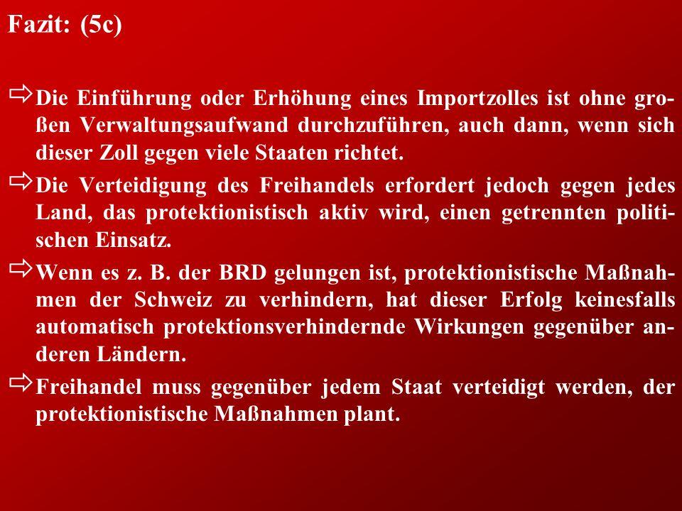 Fazit: (5c) ð Die Einführung oder Erhöhung eines Importzolles ist ohne gro- ßen Verwaltungsaufwand durchzuführen, auch dann, wenn sich dieser Zoll geg