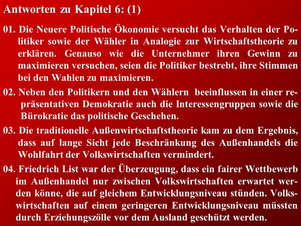 Antworten zu Kapitel 6: (1) 01.