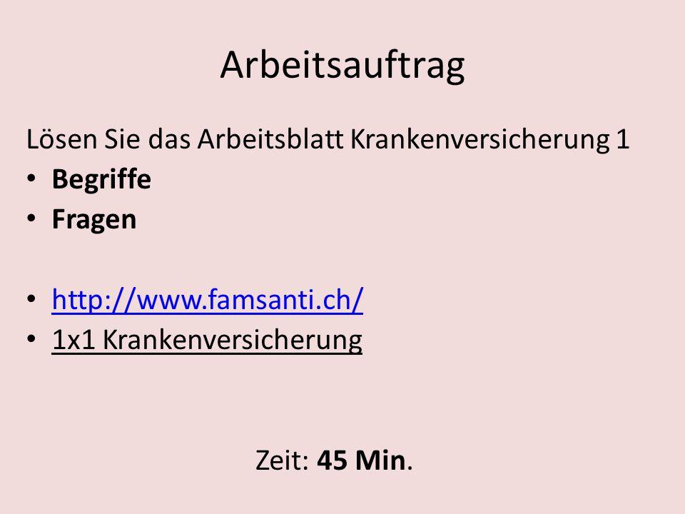Arbeitsauftrag Lösen Sie das Arbeitsblatt Krankenversicherung 2 Krankenkassenvergleichsdienst Kündigungsschreiben www.priminfo.ch Wird beurteilt.