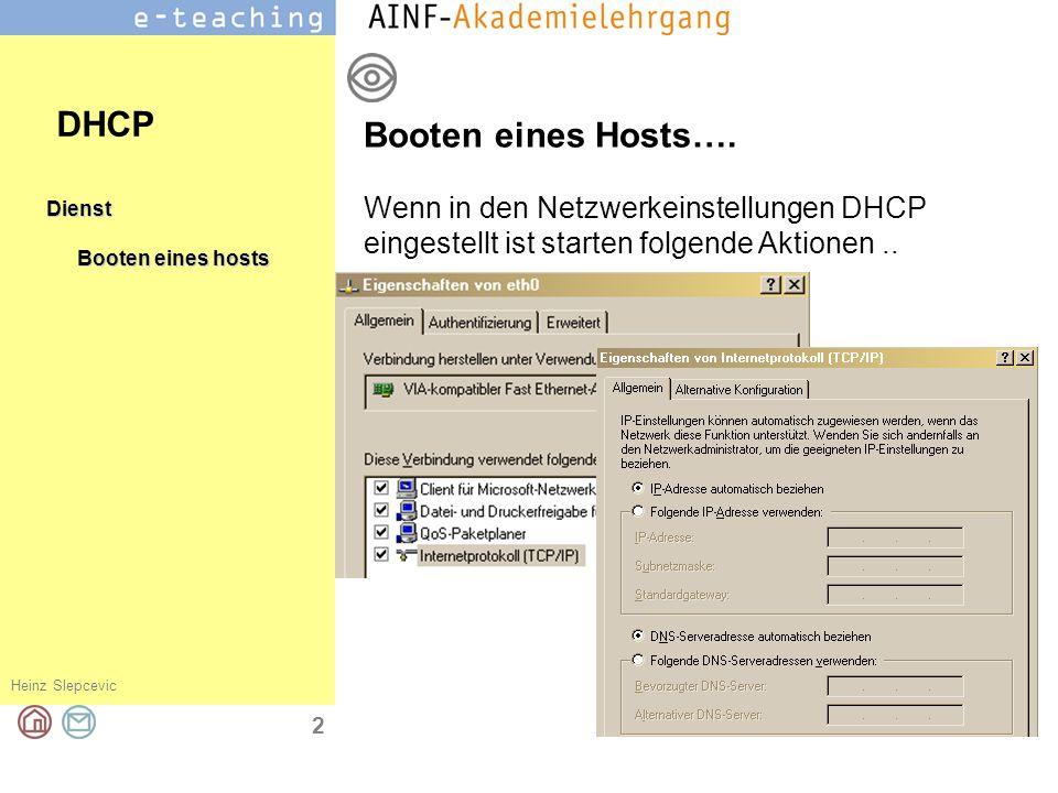 Heinz Slepcevic 3 Dienst Booten eines hosts Anfrage an ein Segment Anfrage eines Hosts… DHCP An alle (Broadcast)… Wenn du ein DHCP Server bist, dann antworte mir, meine MAC Adresse ist 00-90-4B-0E-FA-EA