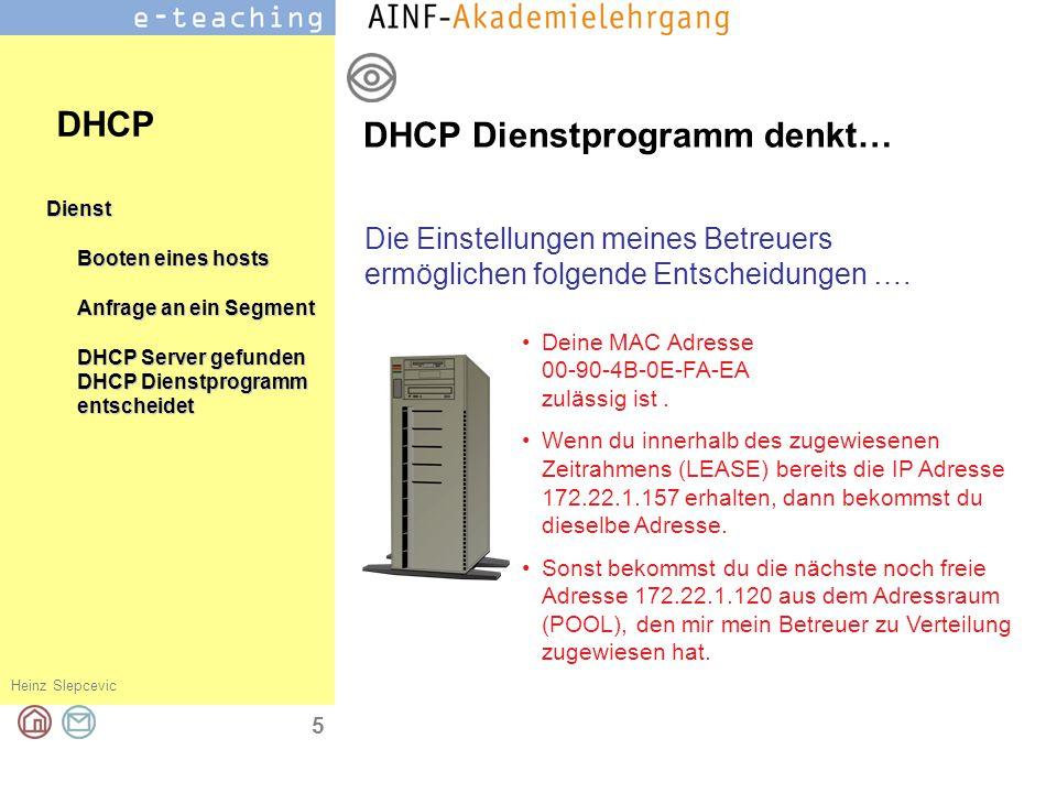 Heinz Slepcevic 6 Dienst Booten eines hosts Anfrage an ein Segment DHCP Server gefunden DHCP Dienstprogramm entscheidet DHCP sendet DHCP Dienstprogramm denkt… DHCP Meine Antwort an 00-90-4B-0E-FA-EA: Deine IP Einstellungen sind: IP 172.22.1.157 Subnetmaske255.255.0.0 Gateway172.22.1.250 DNS1172.22.10.10 DNS2193.170.239.3 DNS3193.171.4.60
