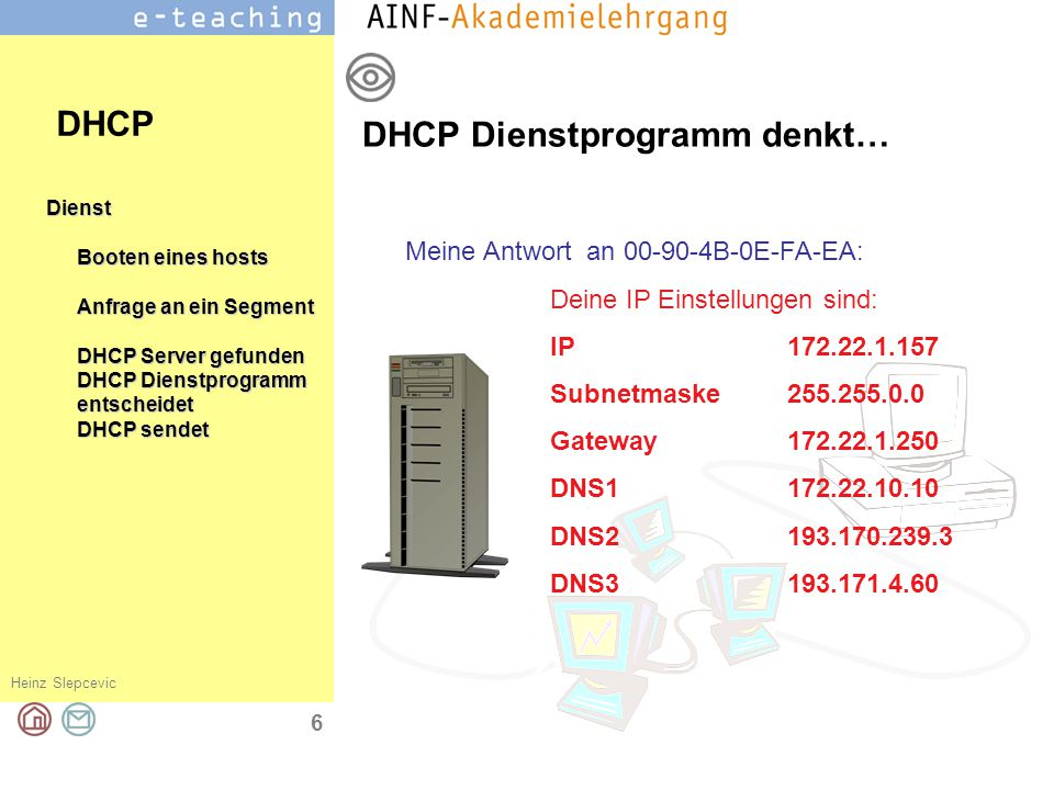 Heinz Slepcevic 7 Dienst Booten eines hosts Anfrage an ein Segment DHCP Server gefunden DHCP Dienstprogramm entscheidet DHCP sendet Host empfängt die Daten Host dankt DHCP Danke für die Daten, nun kann ich meine Netzwerkkonfiguration vervollständigen und kann mit mich mit meinen Kollegen und Kolleginnen im Netz unterhalten..