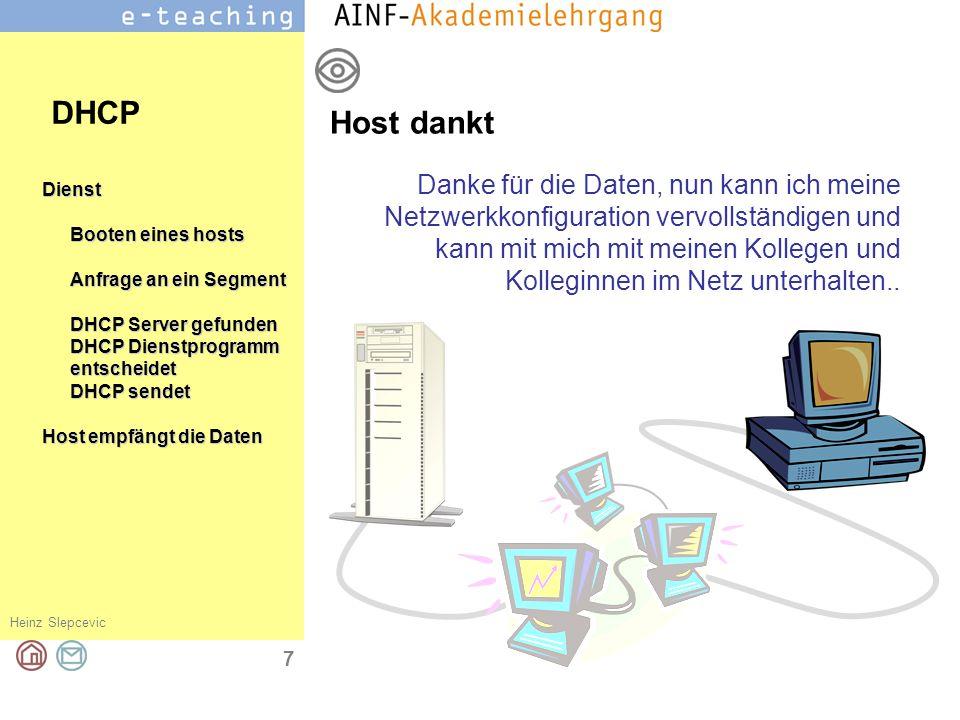 Heinz Slepcevic 7 Dienst Booten eines hosts Anfrage an ein Segment DHCP Server gefunden DHCP Dienstprogramm entscheidet DHCP sendet Host empfängt die