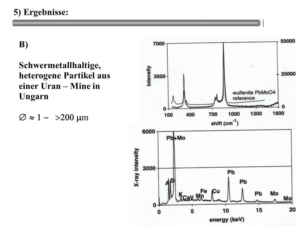 5) Ergebnisse: B) Schwermetallhaltige, heterogene Partikel aus einer Uran – Mine in Ungarn  m