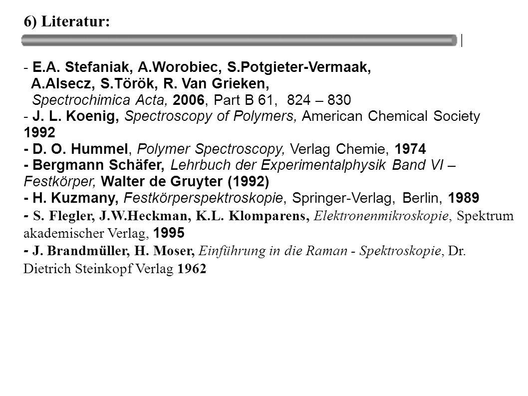 6) Literatur: - E.A. Stefaniak, A.Worobiec, S.Potgieter-Vermaak, A.Alsecz, S.Török, R. Van Grieken, Spectrochimica Acta, 2006, Part B 61, 824 – 830 -