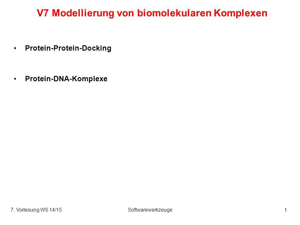 V7 Modellierung von biomolekularen Komplexen Protein-Protein-Docking Protein-DNA-Komplexe 7. Vorlesung WS 14/15Softwarewerkzeuge1