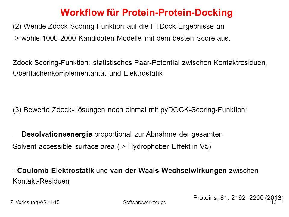 Workflow für Protein-Protein-Docking Proteins, 81, 2192–2200 (2013) (2) Wende Zdock-Scoring-Funktion auf die FTDock-Ergebnisse an -> wähle 1000-2000 K