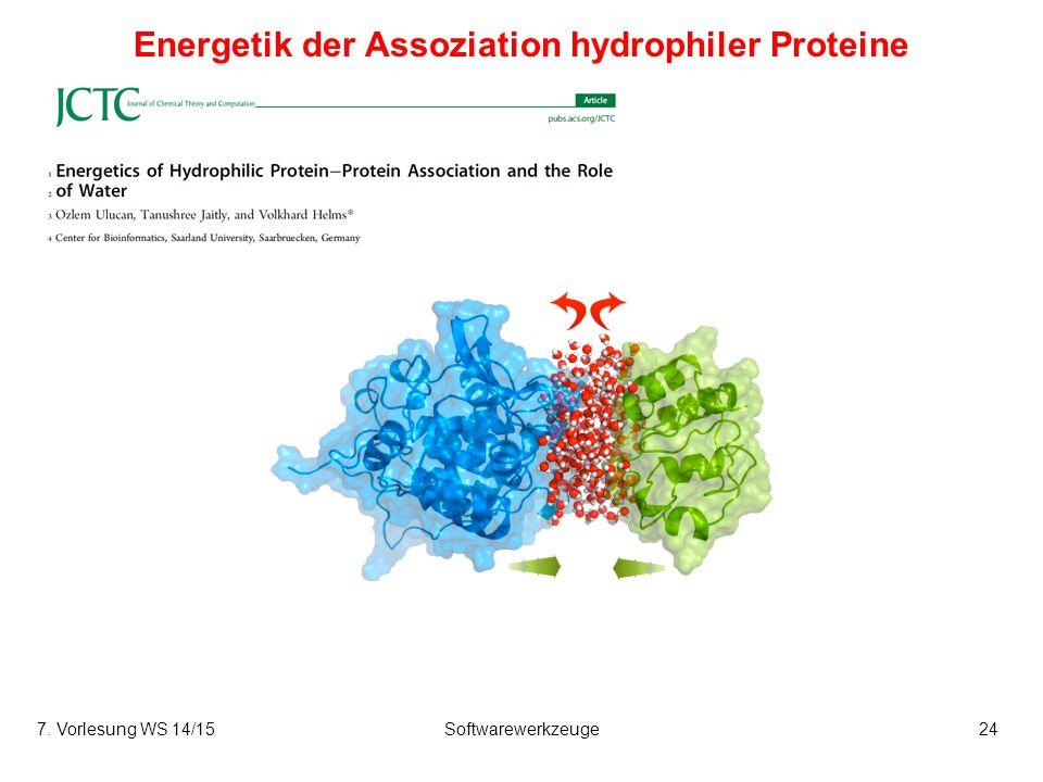 7. Vorlesung WS 14/15Softwarewerkzeuge24 Energetik der Assoziation hydrophiler Proteine
