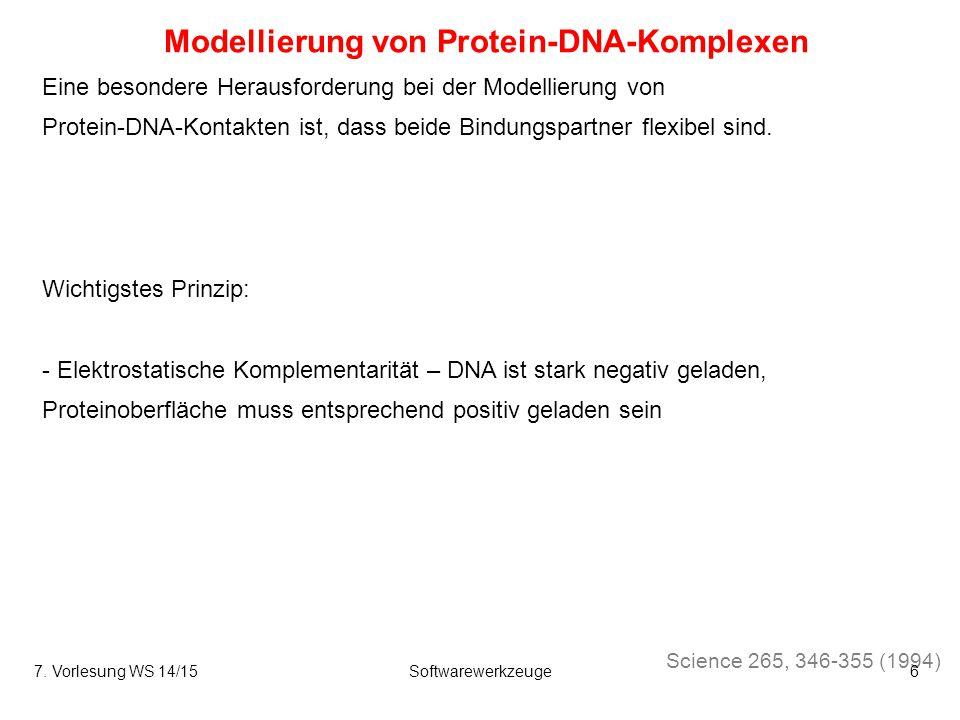 Modellierung von Protein-DNA-Komplexen Science 265, 346-355 (1994) Eine besondere Herausforderung bei der Modellierung von Protein-DNA-Kontakten ist, dass beide Bindungspartner flexibel sind.