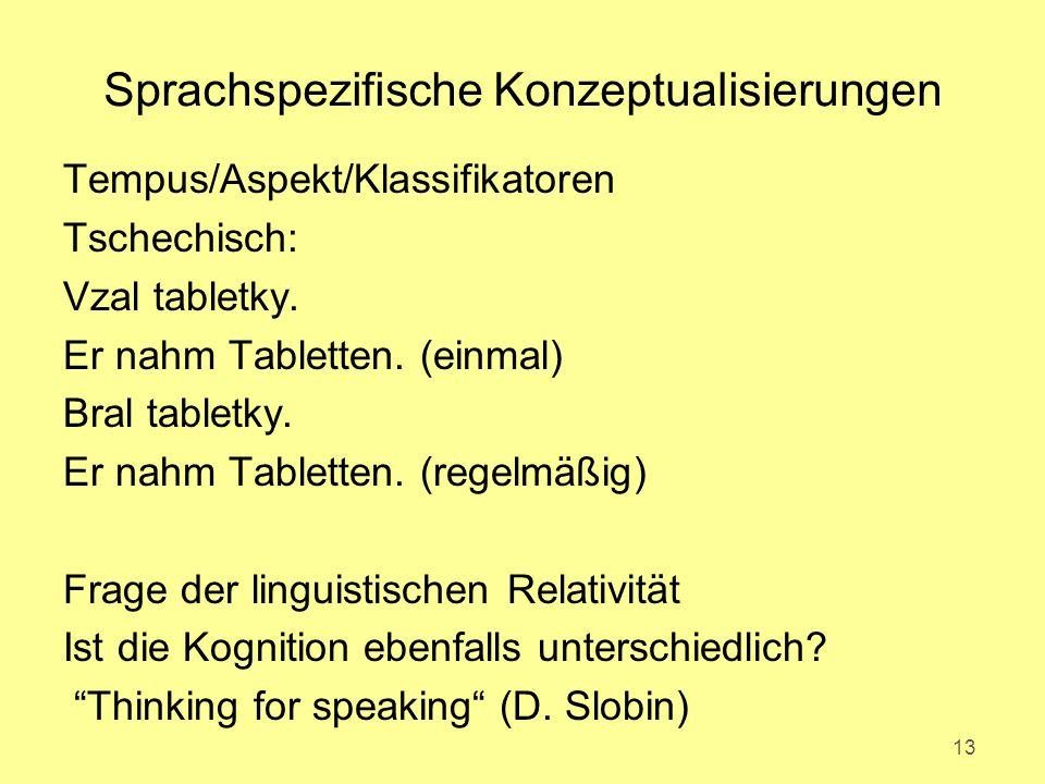Sprachspezifische Konzeptualisierungen Tempus/Aspekt/Klassifikatoren Tschechisch: Vzal tabletky.
