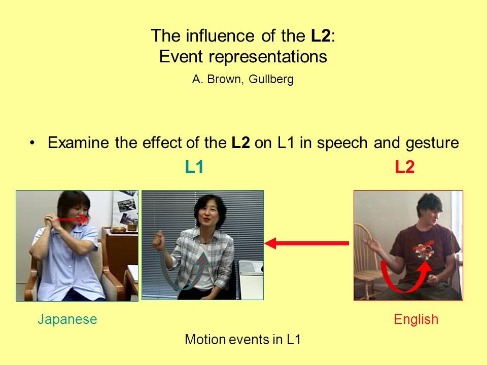 Examine the effect of the L2 on L1 in speech and gesture L1 L2 The influence of the L2: Event representations Motion events in L1 A.